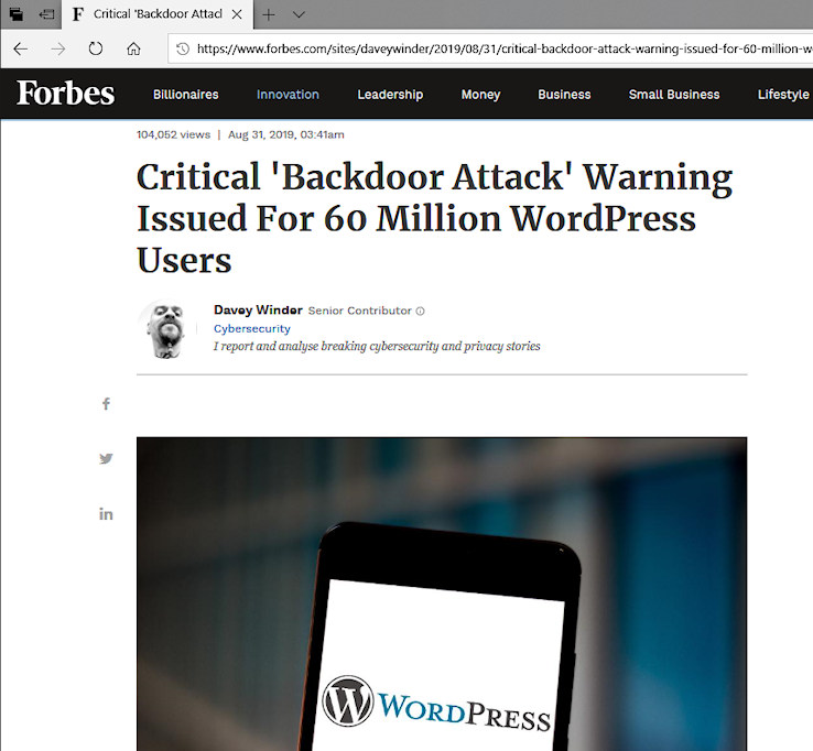 Forbes Reports Critical 'Backdoor Attack' Warning Issued For 60 Million WordPress Users